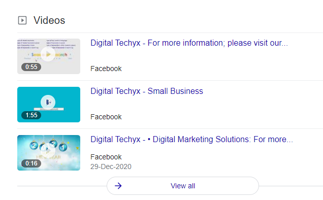 Video section in Google